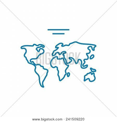 World Map Line Icon, Vector Illustration. World Map Linear Concept Sign.