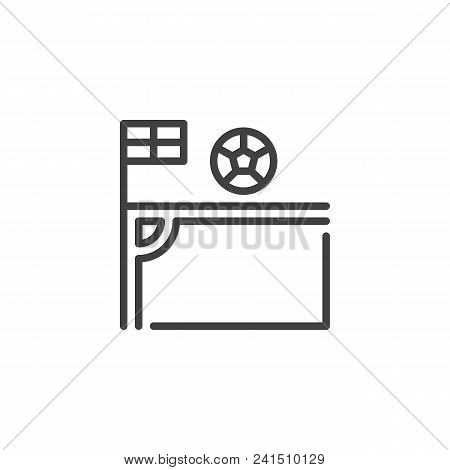 Soccer Corner Kick With Flag And Ball Outline Icon. Linear Style Sign For Mobile Concept And Web Des