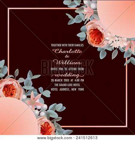 Wedding Invitation Card With Frame From Flowers And Eucalyptus On Dark Red Background. Fashion Green