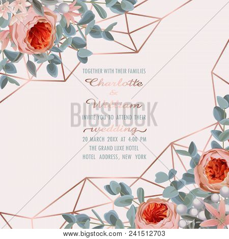 Wedding Invitation Card With Pink Gold Geometric Frame, Flowers And Eucalyptus On Gentle Pink Backgr
