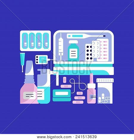 Medical Devices And Doctors Instruments Icons On Bright Blue Background. Vector Illustration Eps 10