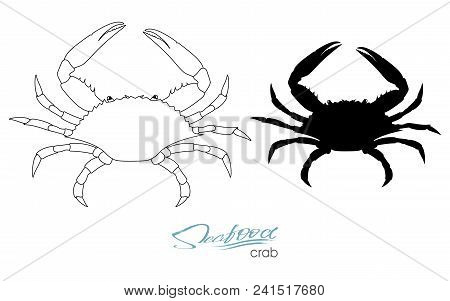 Silhouette Crab. Linear Silhouette Crab. Crab Badge For Design Seafood Packaging And Market, Food Pa