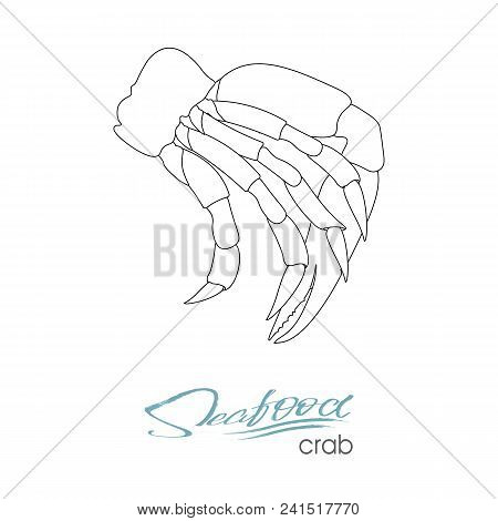 Silhouette Crab Meat. Linear Silhouette Crab Meat. Crab Badge For Design Seafood Packaging And Marke