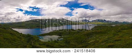 Panoramic View To Hardangervidda Plateau And Kjelavatn Lake, Norway