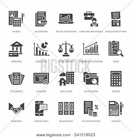 Financial Accounting Flat Glyph Icons. Bookkeeping, Tax Optimization, Firm, Accountant Outsourcing,