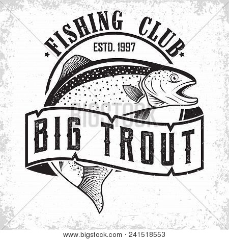 Fishing Club Vintage Logo Design, Emblem Of The Trout Fishermen, Grange Print Stamps, Fisher Typogra