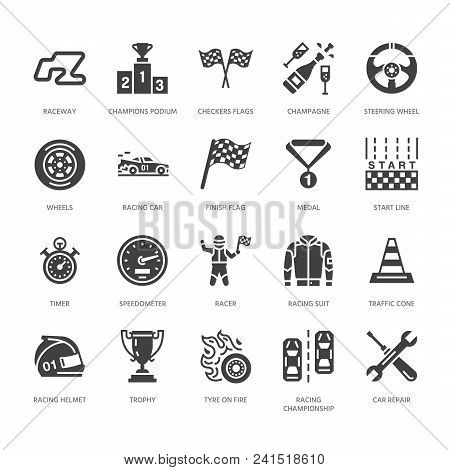 Car Racing Vector Flat Glyph Icons. Speed Auto Championship Signs - Track, Automobile, Racer, Helmet