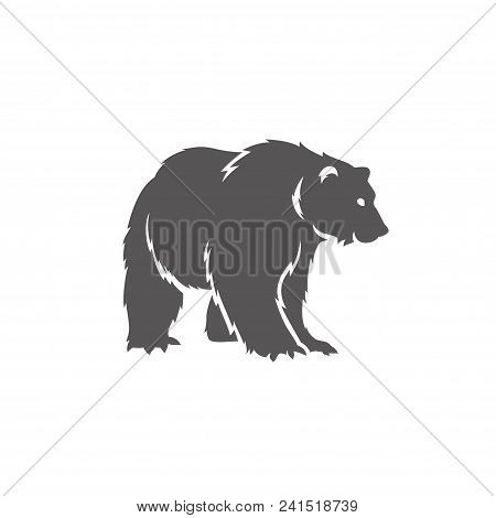 Bear Silhouette Isolated On White Background Vector Illustration. Standing Bear Vector Graphic Emble