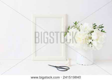White Blank Wooden Frame Mockup. Wedding Table Still Life Composition With Floral Bouquet Made Of Pe