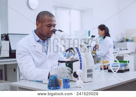 We Are Professionals. Inspired Professional Biologist Working With His Microscope And His Co-worker