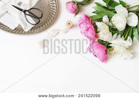 Styled Stock Photo. Feminine Wedding Or Birthday Table Composition With Floral Bouquet. White And Pi