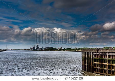 A Dramatic Sky Above The Port Of Antwerp