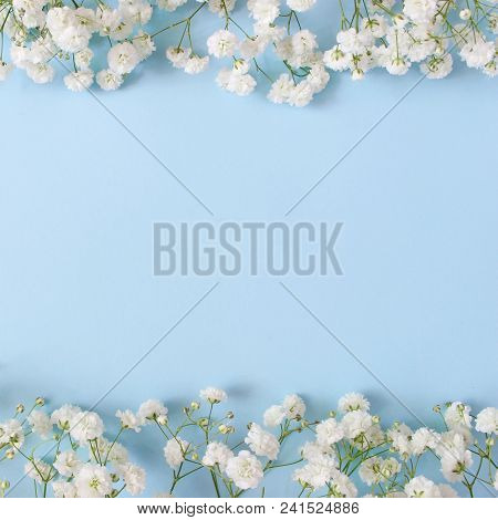 Styled Stock Photo. Feminine Wedding Desktop Mockup With Baby's Breath Gypsophila Flowers On Blue Ba