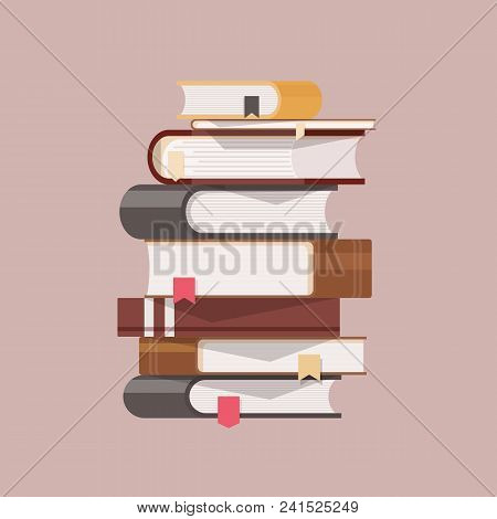 Stack Of Antique Books With Hardcovers And Bookmarks Isolated On Light Background. Pile Of Literary