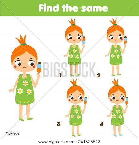Find The Same Pictures Children Educational Game. Find Equal Pairs Of Cute Summer Girl Eating Ice Cr
