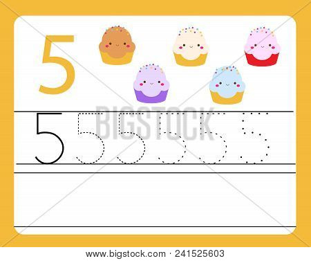 Handwriting Practice. Learning Numbers With Cute Characters. Number Five. Educational Printable Work