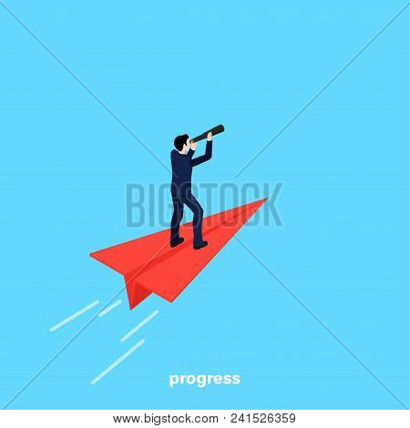A Man In A Business Suit With A Telescope In His Hand Flies On A Red Paper Plane, An Isometric Image