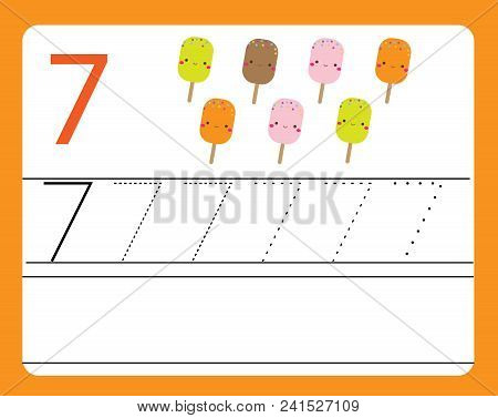 Handwriting Practice. Learning Numbers With Cute Characters. Number Seven. Educational Printable Wor