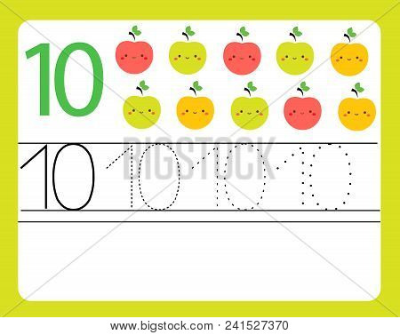 Handwriting Practice. Learning Numbers With Cute Characters. Number Ten. Educational Printable Works