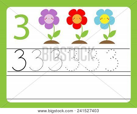 Handwriting Practice. Learning Numbers With Cute Characters. Number Three. Educational Printable Wor