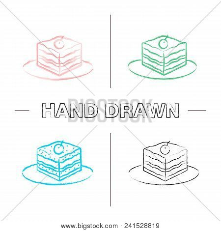 Tiramisu Hand Drawn Icons Set. Color Brush Stroke. Cake With Cherry. Isolated Vector Sketchy Illustr