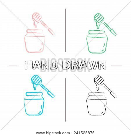 Honey Jar With Dipper Hand Drawn Icons Set. Color Brush Stroke. Isolated Vector Sketchy Illustration