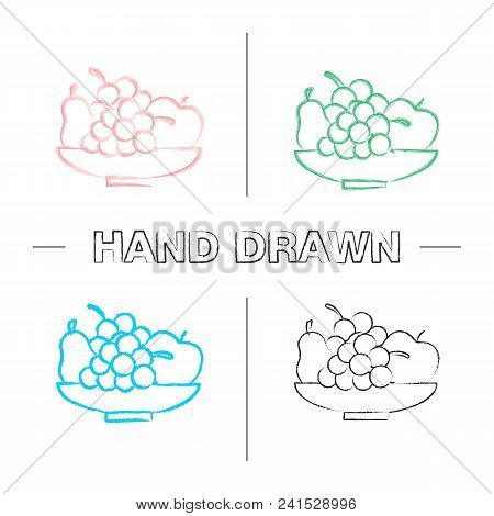 Bowl With Fruit Hand Drawn Icons Set. Harvest. Pear, Apple, Bunch Of Grapes. Still Life. Color Brush