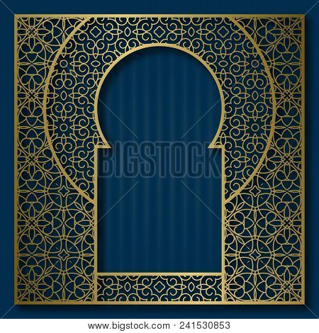 Golden Patterned Frame In Oriental Arched Window Form. Vintage Greeting Card Background Or Packaging