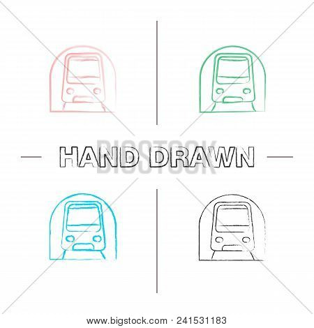 Metro Hand Drawn Icons Set. Subway, Underground. Rapid Transit. Color Brush Stroke. Isolated Vector