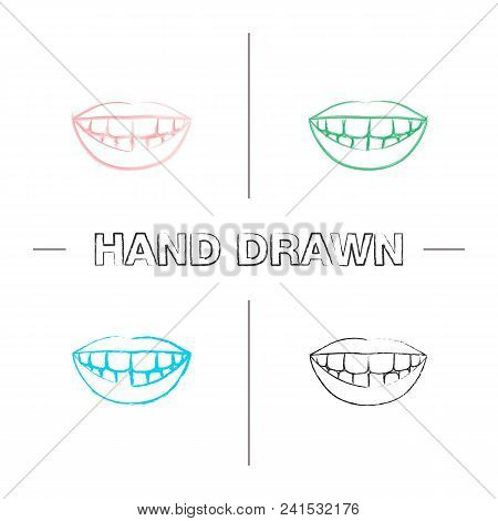 Beautiful Smile With Healthy Teeth Hand Drawn Icons Set. Color Brush Stroke. Isolated Vector Sketchy