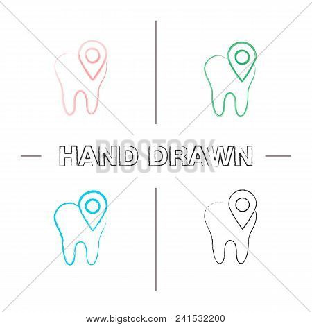 Dental Clinic Location Hand Drawn Icons Set. Tooth With Map Pinpoint. Color Brush Stroke. Isolated V