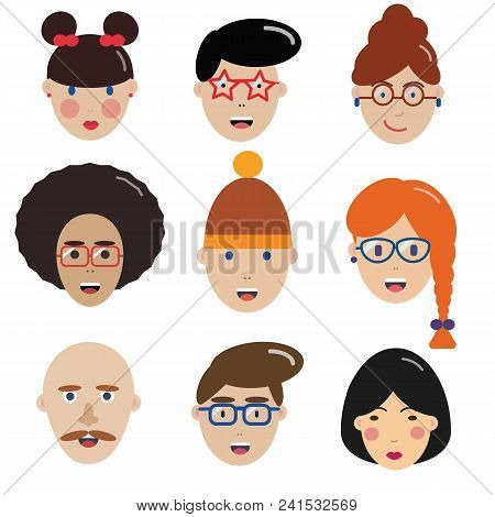 Multinational Man And Woman Icons. Happy People Avatars For Social Media And Applications. Boy And G