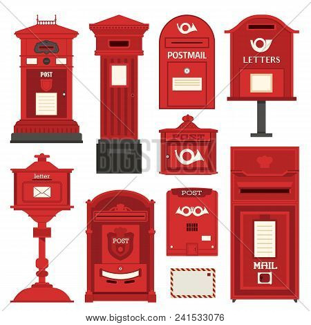 Red English Post Box Set With Vertical Pillar Letter-box, Public Wall Letterbox And Pedestal Mail Po