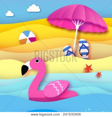 Giant Inflatable Pink Flamingo In Paper Cut Style. Beach Parasol - Umbrella. Origami Pool Float Toy