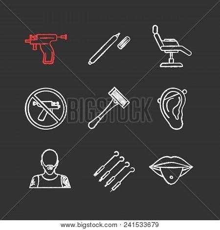 Tattoo Studio Chalk Icons Set. Piercing Service. Highlighter, Tattoo Chair, Piercing Gun Prohibition