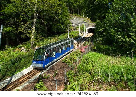 BERGEN-NORWAY, may 27, 2017:  The Floibanen is a funicular railway in the Norwegian city of Bergen. It connects the city centre with the mountain of Floyen