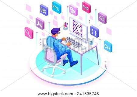 Programmer And Engineering Development Illustration. A Developer Of Project Team Of Engineers For We