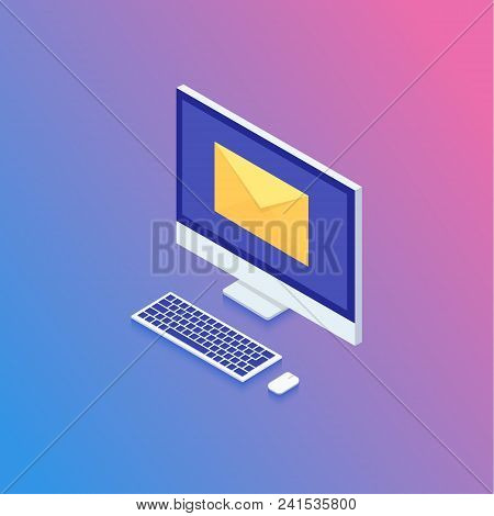 Isometric Email Concept, Technology In Isometric Design. Data Analysis, Checking Email. Vector Illus