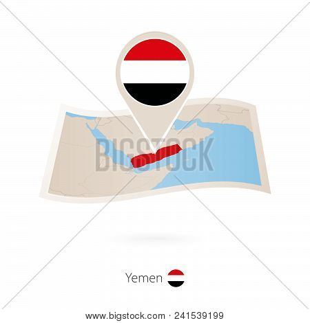 Folded Paper Map Of Yemen With Flag Pin Of Yemen. Vector Illustration