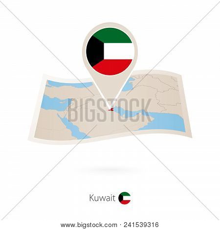 Folded Paper Map Of Kuwait With Flag Pin Of Kuwait. Vector Illustration