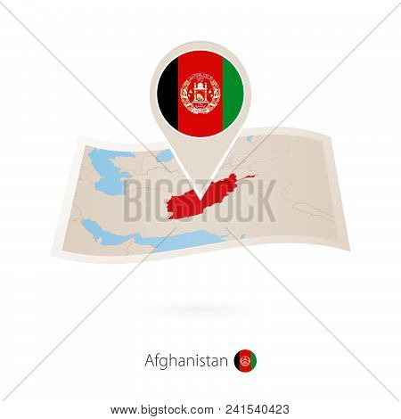Folded Paper Map Of Afghanistan With Flag Pin Of Afghanistan. Vector Illustration