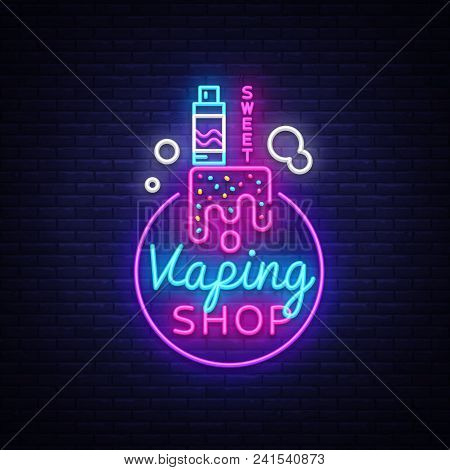 Logo Electronic Cigarette In Neon Style. Vape Shop Neon Sign, Sweet Vape Shop Concept, Emblem, Brigh