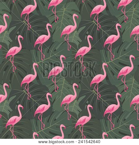 Tropical Seamless Pattern With Pink Flamingos. Summer Floral Background With Tropic Palms, Green Mon