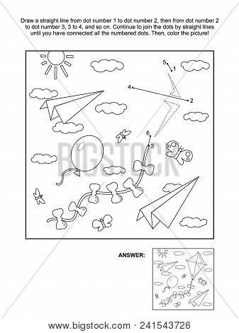 Connect The Dots Picture Puzzle And Coloring Page With Kite, Paper Planes, Balloon Flying In The Sky