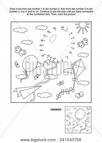 Connect The Dots Picture Puzzle And Coloring Page With Balloons, Paper Plane, Kite Flying In The Sky
