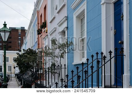 Colourful Terraced Houses Of Notting Hill. Notting Hill Is One Of The Most Expensive Residential Are