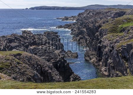 Rocky Cliffs Along Newfoundland Coastline Near Bonavista