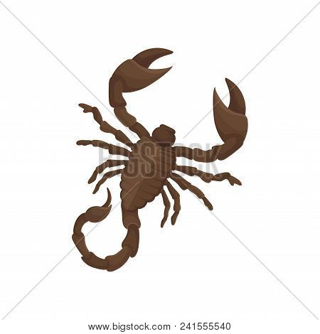 Icon Of Egyptian Scorpion. Predatory Arachnid Creature With Eight Legs, Pair Of Claws And Narrow Tai