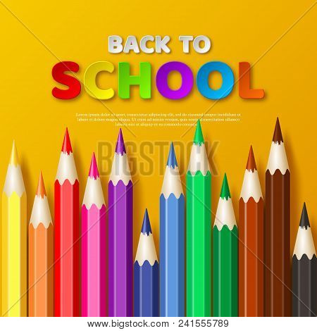 Back To School Typography Design With Realistic Colorful Pencil. Paper Cut Style Letters On Yellow B