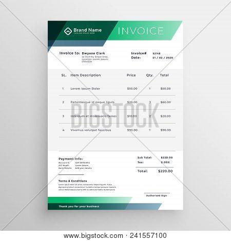 Professional Green Geometric Invoice Template Design Vector